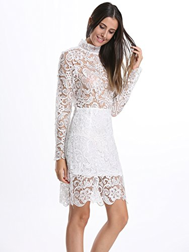 Mini White 1 Bodycon White Choies Black Sleeve With Dress Lace Long Women s qH7YwPB