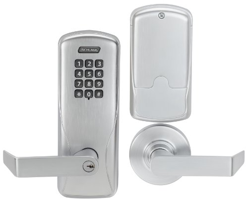Schlage CO Series Class 100 Offline Electronic Lock, Cylindrical Chassis, Classroom/Storeroom Function, Keypad, Rhodes Lever, Satin Chrome Finish