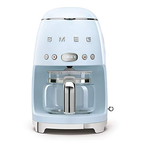 Smeg 1950's Retro Style 10 Cup Programmable Coffee Maker Machine (Pastel Blue)