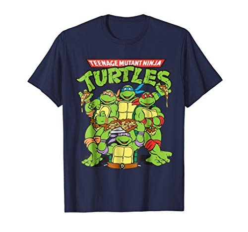 Retro TMNT Group with Pizza -