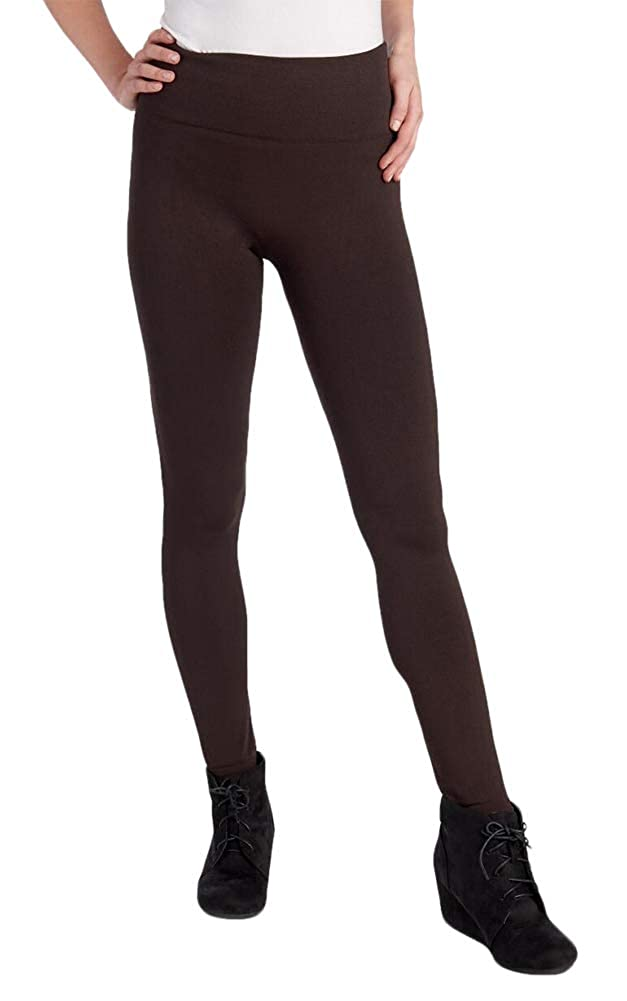 cb6b3403284999 One 5 One Women's Fleece Lined Legging Chocolate Polyesterleggings-Pants at  Amazon Women's Clothing store: