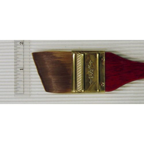 Princeton Heritage, Golden Taklon Brush for Watercolor & Acrylic, Series 4050 Angular Flat Wash Synthetic Sable, Size 1.5 inch