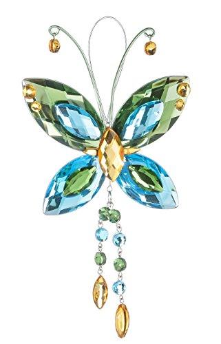 Crystal Butterfly Sun Catcher / Ornament - Green/blue/yellow -