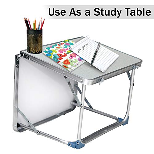 Storite Multipurpose Light Weight Foldable Laptop Table/Study Table/Bed Table/Lapdesk for Bed Foldable Table Ergonomic & Rounded Edges for Home Office (Silver, 61 x 40.5 x 28 cm) (Light Weight :1.2 kg)