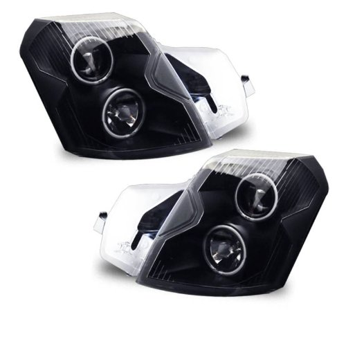 SPPC Projector Headlights Black Assembly Set (CCFL Halo Rings) for Cadillac CTS - (Pair) Includes Driver Left and Passenger Right Side Replacement Headlamp (Headlights Halo Cadillac Cts)