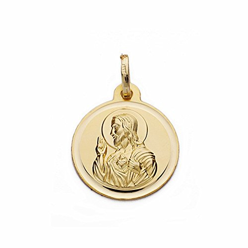 Médaille pendentif 18k 16mm en or Coeur de Jésus. lunette lisse [AA2512GR] - personnalisable - ENREGISTREMENT inclus dans le prix