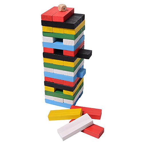 XADP 54pcs Wooden Blocks Stacking Games Board Building Blocks for Kids Toddler by XADP