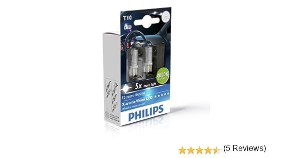 Philips 129644000KX2 T10 - Bombilla LED W5W de interior (2 unidades), color blanco: Amazon.es: Oficina y papelería