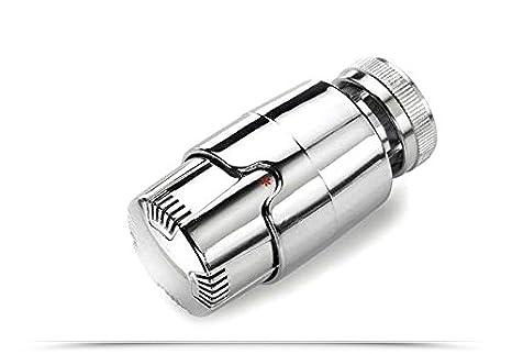 Kit de válvula y detector con cabezal termostático cromado. Adaptadores