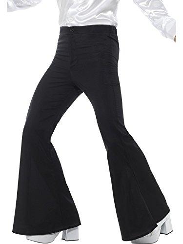 Men's 70s Groovy Disco Fever Flared Black Pants Costume Large 36-38 (Disco Fever Men Costumes)