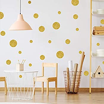 easy peel stick gold wall decal dots 2 inch 200 decals safe on walls paint. Black Bedroom Furniture Sets. Home Design Ideas
