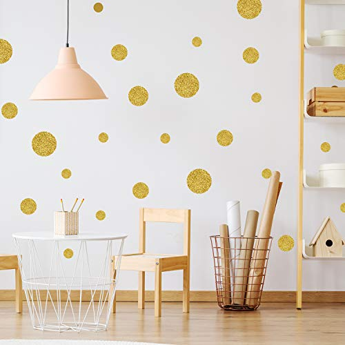 (Gold Glitter Wall Decals Polka Dots Stickers Vinyl Round Bling Circle Art Stickers Removable Metallic Sparkling Bedroom Decor Decorations for Nursery Kids Room (205 Gold Glitter)