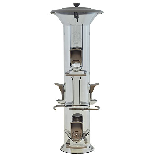 More Birds Bird Feeder with 2 lb Bird Seed Capacity, Harmony Songbird Feeder with Six Feeding Ports