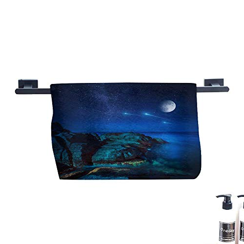 Dry Fast Towel,Majestic View of sea and Moon at Night.,Gym Swim Hotel Use W 27.5