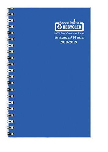 House of Doolittle 2018-2019 - Agenda escolar semanal, libro de asignación, Vinilo azul