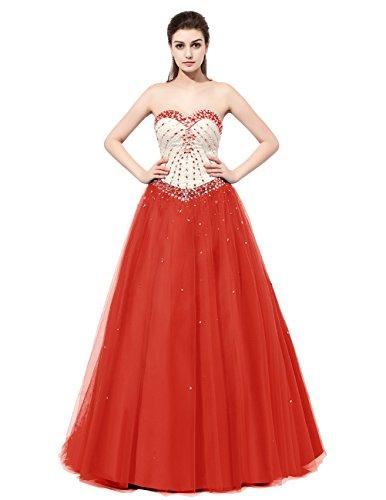 Dresstells®Vestido Mujer De Fiesta Cumplaños Tul Escote Corazón Con Cuentas Rojo