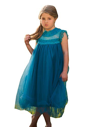Big Girls Teal Blue Lace Tulle Smock Tea-Length Magnolia Christmas Dress 10 from Just Couture