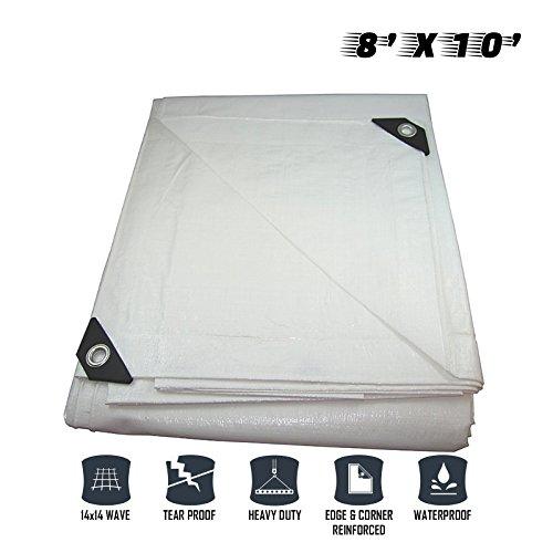 Sunshades Depot 8 x 10 Feet Heavy Duty 10 Mil Waterproof White Poly Tarp