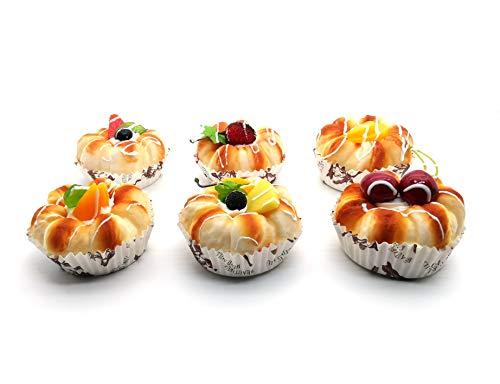 Cake Fridge Magnet - 1:1 Scale Handmade Simulated Food Refrigerator Magnets 3D Decorative Fridge Magnets for Home Kitchen Decor Food Toys (Fruit Cake), Pack of 6
