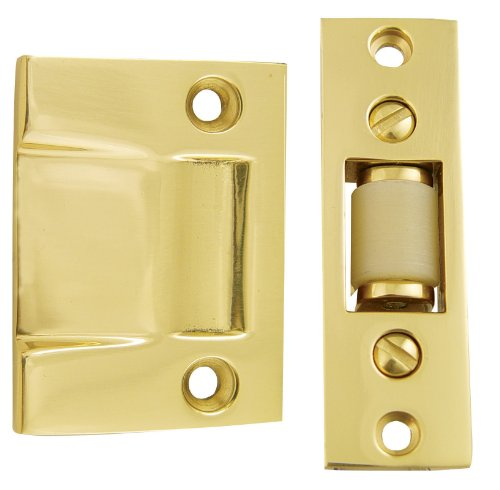 Emtek 8801 3-3/8 Inch Height Solid Brass Roller Catch With Strike and Screws, Pewter