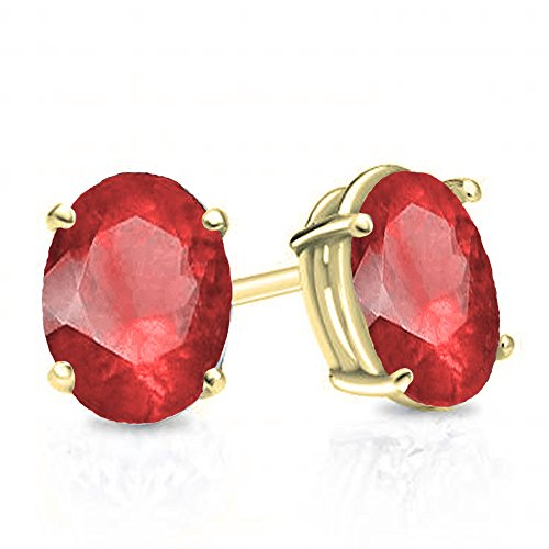 Dazzlingrock Collection 14K 6x4 mm Oval Cut Ruby Ladies Solitaire Stud Earrings 1 CT, Yellow Gold 14k 6x4mm Oval Ruby Earring