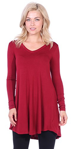 - Popana Women's Tunic Tops for Leggings Long Sleeve Shirt Plus Size Made in USA Medium Burgundy