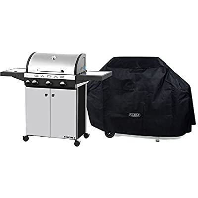 Cadac 98700-33-01/CVR-KIT Stratos 3-39000 BTU Stainless Steel Gas Grill and Grill Cover from Cadac