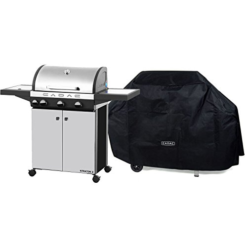 Cadac 98700-33-01/CVR-KIT Stratos 3-39000 BTU Stainless Steel Gas Grill and Grill Cover Cadac