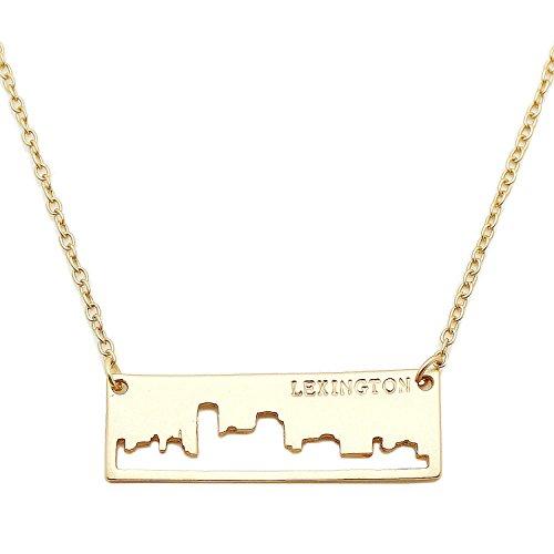 Patriotic United States: City Skyline Matte Gold-Tone Rectangular Cut-Out Pendant Necklace: -