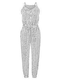 Romacci Jumpsuit Spaghetti Strap Drawstring High Waist Racer Casual Romper
