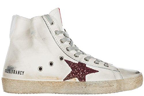 Golden Goose scarpe sneakers alte donna in pelle nuove francy bianco