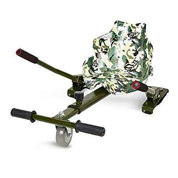 ECOXTREM Hoverkart, Asiento Kart, Oliva diseño Pintura, con manillares Laterales, Barra Ajustable. Accesorio para patinetes eléctricos Hoverboard ...