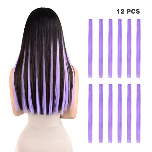 12 Pieces Party Highlights Clip in Colored Hair Extensions for Kids Girls Colorful Hair Extensions 22 inches Straight Synthetic Hairpieces Multi-Colors Light Purple Violet Hair -