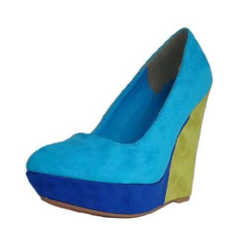 Qupid Women's Pulse29 Turquoise Suede Colorblock Pointy Toe Platform Wedge 6.5 M US
