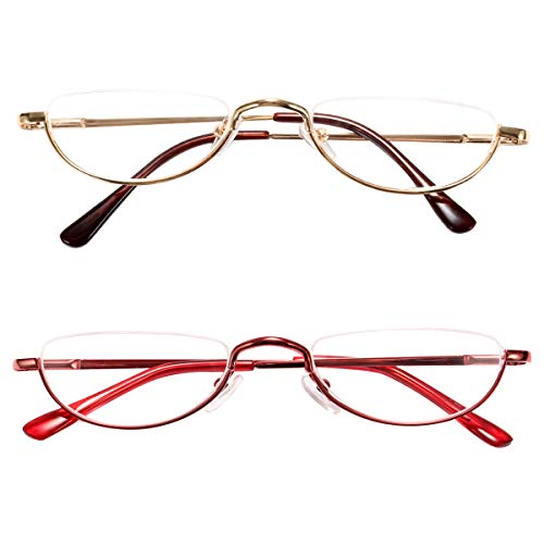 Alloy Eye - Fuaisi Vintage Alloy Half Moon Classic Reading Glasses Men And Women Half Frame Slim Glasses (2 Pairs/Red+Gold, 200)
