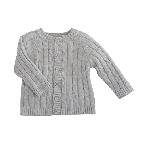 Elegant Baby Cable - Elegant Baby Classic Cable Baby Sweater, 6-12M, EB Gray