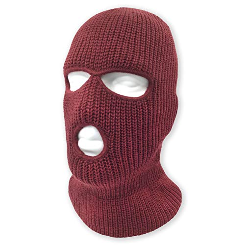 3 Hole Beanie Face Mask Ski - Warm Double Thermal Knitted - Men and Women (Maroon)