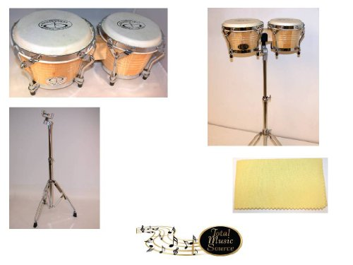 GP Percussion B2 6'' / 7'' Tunable Hickory Bongos PRO Series, Bottom Tuning, with Matching 11021B GP Percussion Double Braced Stand and TMS Polishing Cloth by GP Percussion