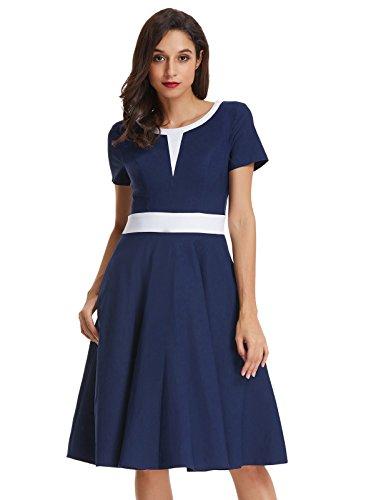 (Belle Poque Colorblock Short Sleeve A Line Flare Pocket Dress M BP484-2)