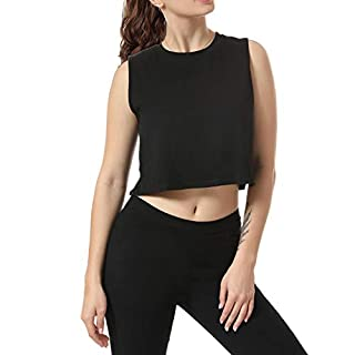 Women Summer Short-Sleeved T-Shirt Crop Top Sleeveless Racerback Workout Yoga Short Tank Top.JNINTH Black