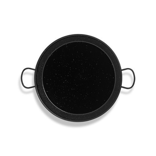 Vaello Campos Enamelled Steel Paella Pan, 38 cm, 38cm, Black