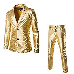 Men's Two-Button Sequin Suit & Pants