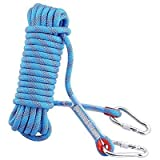 #4: KUUDI Outdoor Rock Climbing Rope 20M(64ft)/30M(98ft) with Hooks, Diameter 10 mm, Climbing Safety Rope, Rescue Rope, Tree climbing Rope, Hiking Ropes