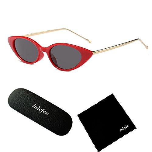 de de mod pour d'oeil Inlefen de Rétro femmes de des vintage modèle Rouge chat soleil ovale lunettes petit ovale Gris PnwZ0qXZxY