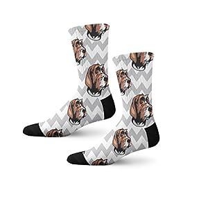 Wirehaired Pointing Griffon Dog Gray Zigzag Cool Novelty Cuff Crew Men Women Socks Medium 4