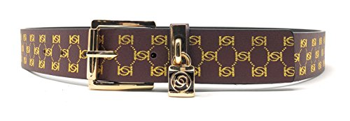 Passion Cognac - bebe Women's Belt with Logo Lock in Congac Print