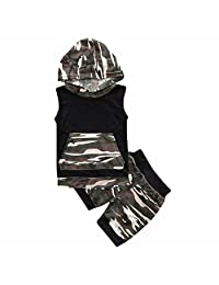 Summer 2Pcs Baby Boy Girl Sleeveless Hooded Camo Black Top+Elastic Shorts Set