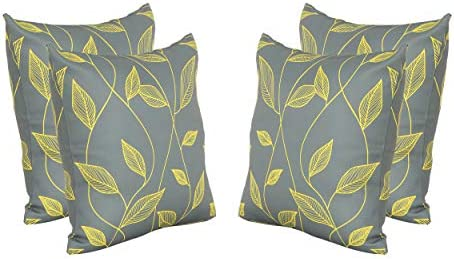 Christopher Knight Home Georgia Outdoor Cushions, 17.75 Square, Cute Leaves, Yellow, Gray Set of 4