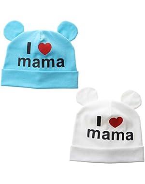 2pcs Baby Tollder's Beanie Hat I Love PAPA Mama Kids Turban Hat