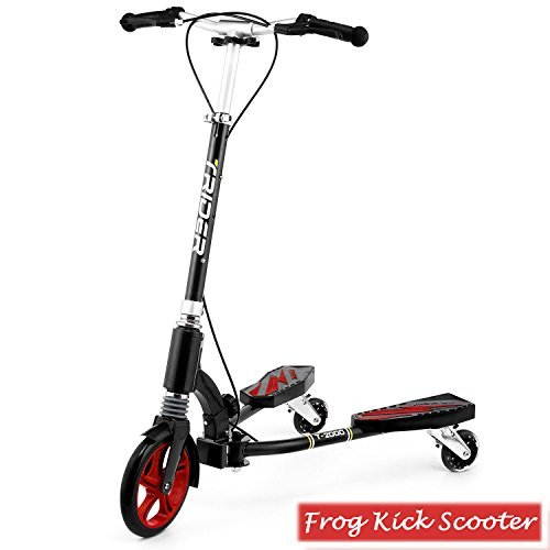 Rampmu Y Flicker Swing Scooter for Kids Teens 6 Years and Up, Portable Wiggle Scooter 3 Wheels with Adjustable Height & Double Rear Brake (US STOCK)